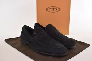 Tod's NWB Dress Shoes Size 11.5 D US In Solid Black Suede Penny Loafer $525