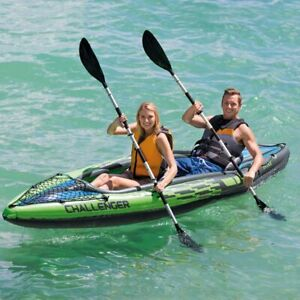Intex Challenger K2Inflatable 2 Person Kayak Canoe with Pump Oars * BRAND NEW *