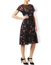 BNWT Monsoon Ella Frill Black Lace Fit & Flare Cocktail Midi Tea Dress Size 12