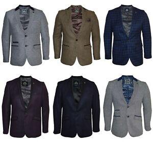 Mens Marc Darcy Tweed Blazer Smart Formal Dinner Suit Jacket Slim Fit