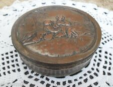 Caja vintage de metal plateado y bronce diámetro 12,5 cm