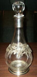 Bottiglia in vetro e peltro per vino o liquori con punzoni sul fondo - perfetta