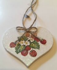 Floral Strawberry Hanging Decoration Shabby Chic Country Vintage Decal Handmade