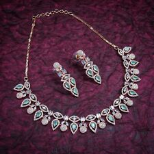 Indian Bridal Wedding Pearl Jewelry Cubic Zirconia Round Choker Necklace Set