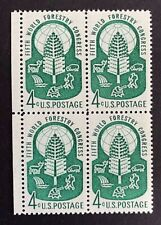 US Stamps, Scott #1156 World Forestry Issue 1960 4c Block of 4 XF M/NH