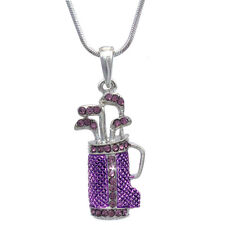 Lavender Purple Golf Club Set Bag Sporting Goods Pendant Necklace Sports Jewelry