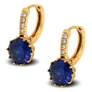 18ct Gold Filled Womens Hoop Earrings with Blue and White CZ Crystals