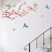 Wandtattoo Wandaufkleber Pfirsichblüte Vogel Wandsticker Wohnzimmer Blumen Deko