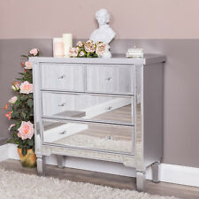 Silver Mirrored Chest of 4 Drawers Cabinet Glass Venetian Bedroom Hallway Home