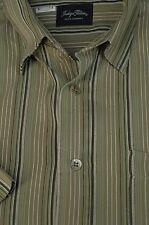 Indigo Palms Men's Olive Striped Woven Rayon Blend Casual Shirt L Large