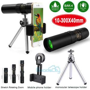 Day/Night Vision 10-300X40mm HD BAK4 Monocular Starscope Telescope w/Tripod+Clip