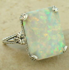 ANTIQUE STYLE 925 STERLING SILVER 3 CARAT LAB WHITE OPAL RING SIZE 8,       #919