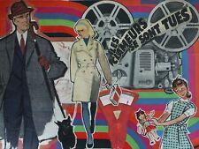 Collage rétro vintage sur chassis entoilé 40x30 cm - Les clameurs se sont tues