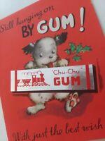 Vtg CHRISTMAS PUPPY Still Hanging On By GUM Chu Chu Foil Wrapper GREETING CARD