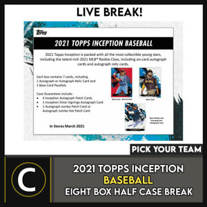 2021 TOPPS INCEPTION BASEBALL 8 BOX HALF CASE BREAK #A1085 - PICK YOUR TEAM