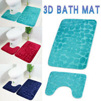 Embossed 2pcs Bathroom Mat Set Anti-slip Shower Mat Toilet Rug Bathroom Carpet