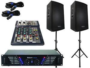Das PA-SET 28 IBIZA Verstärker  DJ 3Wege Stativ Boxen USB Musikanlage Mischpult