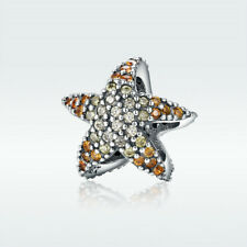 925 Sterling Silver Charm Starfish Bead With Clear Crystal For Bracelet Necklace
