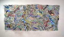 Large 1980's Acrylic Woven Mixed Media Abstract Wall Sculpture Robert Walker LA
