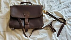 Saddleback Leather Thin Briefcase Dark Coffee Brown with Natural Pigskin Lining