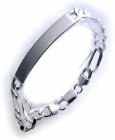 Herren Figaro Armband echt Silber 925 Gravurplatte incl. Gravur Sterlingsilber