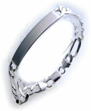 Men's Figaro Bracelet Genuine Silver 925 Engraving Plate Incl. Sterling