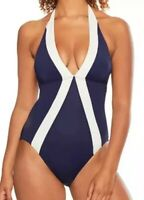 NWT Vince Camuto Navy Colorblocked Halter-Neck One-Piece Swimsuit Women's Size 8