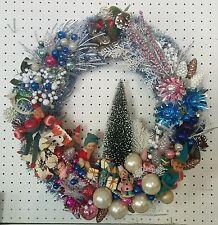 Vintage Christmas Ornament Wreath Elves Putz House Forest Blue silver white pink