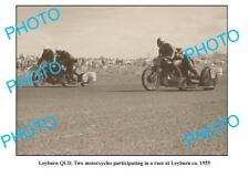 OLD LARGE PHOTO FEATURING LEYBURN QUEENSLAND, MOTORCYCLE & SIDECAR RACERS 1955