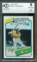 1980 Topps #482 Rickey Henderson Rookie Card BGS BCCG 9 Near Mint+