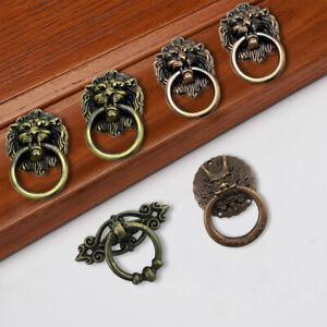 Antique Lion Dragon Head Cabinet Knob Wardrobe Drawer Handle Dresser Ring Pull