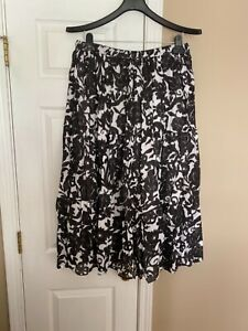 Jane Ashley woman's Black & White print Pull-on Cotton Long Skirt Plus size 2X