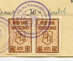 RARE 1937 PARNU TYPE II MUNICIPAL REVENUE PAIR ON DOCUMENT ESTONIA