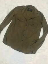 Maison Scotch Star de la Saison size 1 Army Green Shirt Jacket studded Collar 12