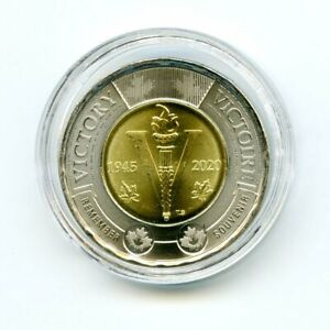2020 CANADA $2 TOONIE WWII 75TH V-E DAY VE-DAY TWO DOLLAR IN A PLASTIC CAPSULE