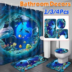 Full Set 150x180cm Dolphin Shark Sea Shower Curtain Bath Bathmat Lid Cover Rug
