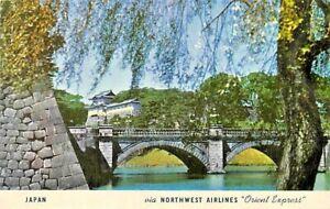 Northwest Airlines Japan Nuubashi Bridge Imperial Palace Tokyo Postcard