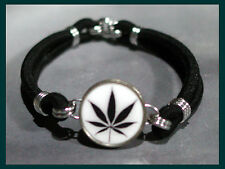 CANNABIS MARIJUANA Leaf Dime Stretch Bracelet - One size fits most - MADE IN USA