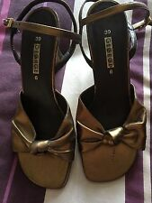 BRONZE BLACK STRAPPY SHOES SIZE 6 WEDDING CRUISE OCCASION PARTY Reduced