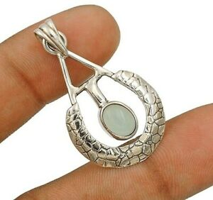Aquamarine 925 Solid Sterling Silver Pendant Jewelry CT26-2