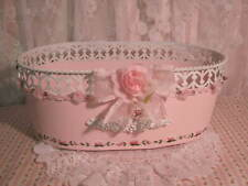 shabby cottage hand painted pink roses tin ornate pail.bucket.storage w/liners