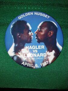 Hagler vs Leonard Golden Nugget Button April 6 1987 On Closed Circuit TV