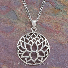 LOTUS FLOWER Pendant Necklace yoga Charm sterling silver 925
