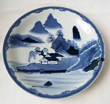 Antique Chinese Blue and White Canton Large Plate w/ Mountains and Village