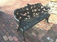 Antique Cast Iron Garden Bench c1900 Fern Leaf and Berry