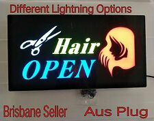 NEW 12V LED Neon HAIR OPEN Bright Neon Sign for Business Shop 48cm*24cm