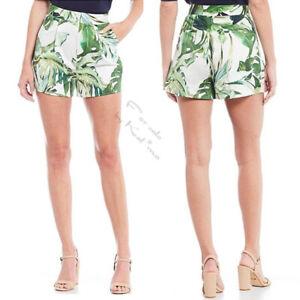 $99 GIANNI BINI Eva High Waist SHORTS 8 M Paradise Palm Print Cotton Ivory Green