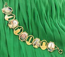 Vintage Granada Spain La Giralda Souvenir Enamel Gold Tone Bracelet 8'' Long