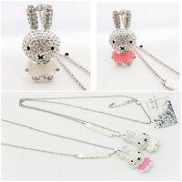 Women Girls Enamel Clear Rhinestone Rabbit Chain Pendant Necklace Jewelry Gift