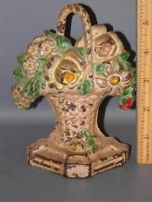 Vintage Hubley Cast Iron Doorstop Statue  Flower Basket #8